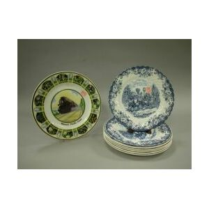 Eight Transfer Decorated Commemorative Ceramic Plates