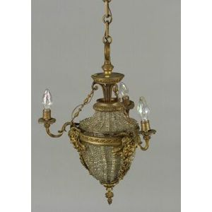 Louis XIV-style Bronze Beaded Three Light Hall Chandelier