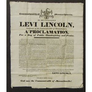 Levi Lincoln Proclamation for a Thanksgiving Broadside, 1825.