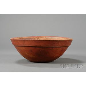 Red-painted Turned Treen Bowl