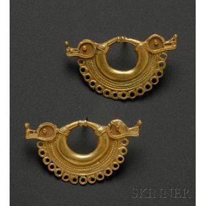 Pair of Pre-Columbian Gold Ear Ornaments