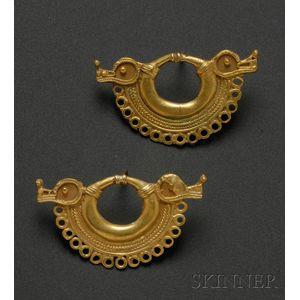Pair of Pre-Columbian Gold Ear Ornaments