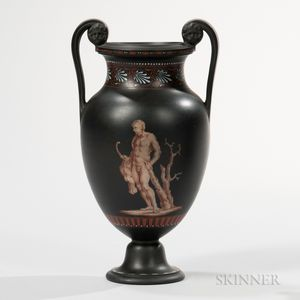Encaustic Decorated Black Basalt Vase