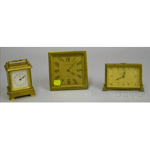 Three Brass Desk Clocks