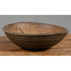 Black-painted Turned Wooden Bowl
