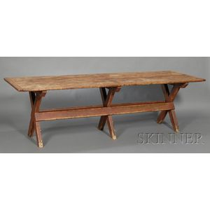 Red-painted Pine Sawbuck Harvest Table