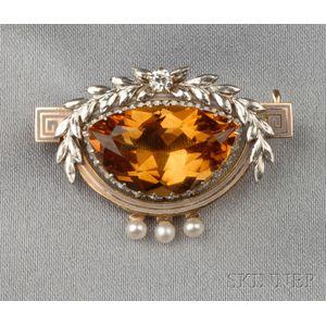 Edwardian Citrine and Diamond Flower Basket Brooch