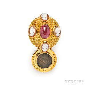 18kt Gold, Ancient Coin, and Rubellite Brooch, Elizabeth Gage