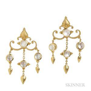 22kt Gold and Moonstone Earrings, Paula Crevoshay