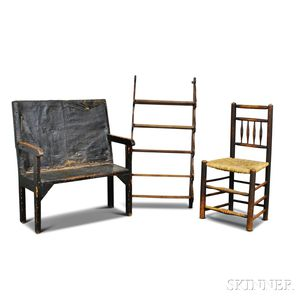 Black-painted Settee, a Carved Oak Hanging Wall Shelf, and a Side Chair.     Estimate $300-500