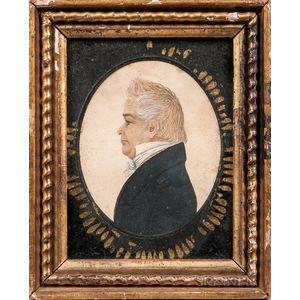 Rufus Porter (Connecticut/Massachusetts, 1792-1884)      Profile Portrait of an Elderly Gentleman
