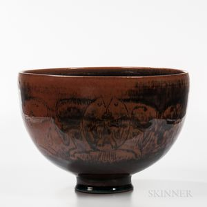 Edwin and Mary Scheier Decorated Studio Pottery Bowl