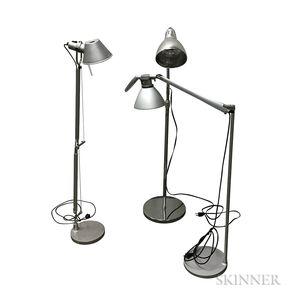 Three Metal Floor Lamps