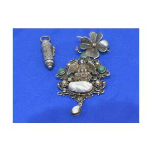 Baroque-style Silver, Emerald, and Seed Pearl Brooch
