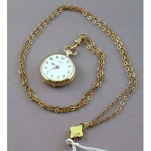 9kt Gold Ladys 7-jewel Pocket Watch and Associated Watch Chain with Slide.