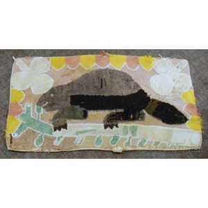 Beaver and Floral Pattern Hooked Rug