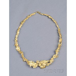 Abstract Design 18kt Gold and Diamond Necklace