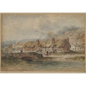 Lot of Two Framed 19th Century English Watercolors:      Old Cottages Droitwich