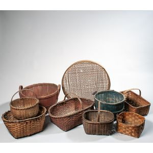Nine Splint and Bentwood Baskets
