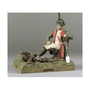 Painted Spelter Figural Lamp Base of Napoleon in Camp