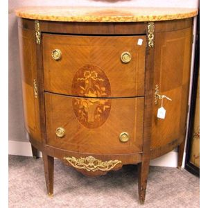 Louis XVI Style Marble-top Ormolu Mounted Inlaid Marquetry Demilune Commode.