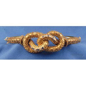Etruscan Revival 15kt Gold and Gem-set Bangle Bracelet