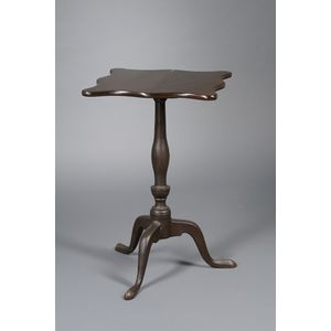 Federal Brown-painted Serpentine Tilt-top Candlestand.