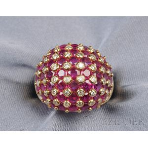 18kt Gold, Ruby, and Diamond Ring