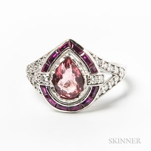 Platinum, Pink Spinel, Calibre-cut Ruby, and Diamond Ring