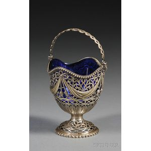 English Silver Glass-lined Candy Dish