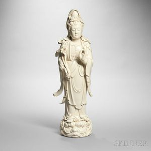 Large Blanc-de-chine Figure of Guanyin
