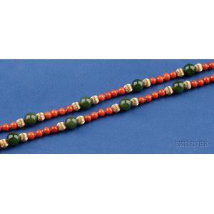 14kt Gold, Coral, and Nephrite Bead Necklace