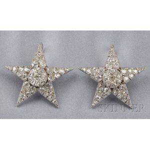 Pair of Antique Diamond Stars