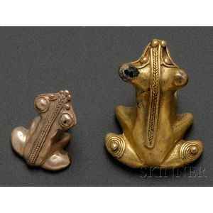 Two Pre-Columbian Frog Pendants
