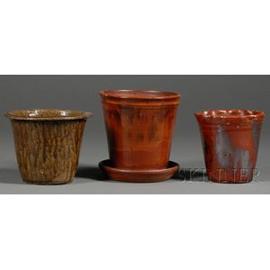 Three Redware Pottery Flowerpots