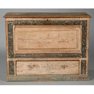Paint-decorated Yellow Pine Chest-over-drawer