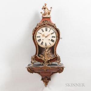 Unusual Swedish Rosewood Veneered Boulle Clock and Pedestal
