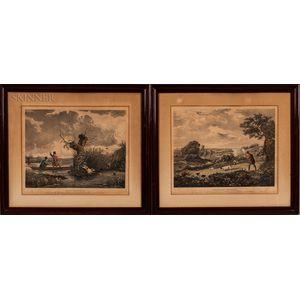 Henry Pyall (British, 1795-1833)    Two Hand-colored Prints: Duck Shooting