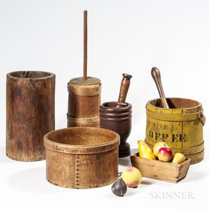Group of Wooden Kitchen and Fruit Items
