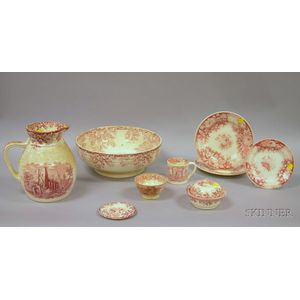 Nine Pieces of Red and White Transfer Decorated Ceramic Tableware