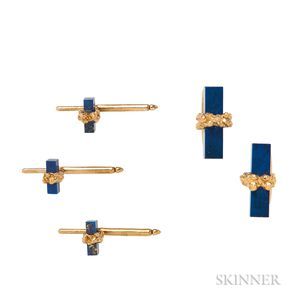 18kt Gold and Lapis Dress Set, Alan Gard