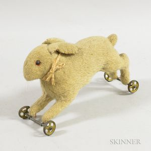 Mohair Stuffed Bunny Pull Toy