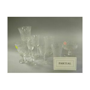 Approximately Eighty-five Pieces of Wheel-Etched Colorless Glass Stemware