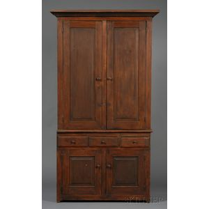 Brown-painted Pine Two-part Step-back Cupboard