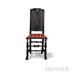 William and Mary Black-painted Caned Side Chair