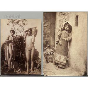 Wilhelm von Gloeden (German/Italian, 1856-1931)      Two Works: Two Nude Male Youths with Amphora