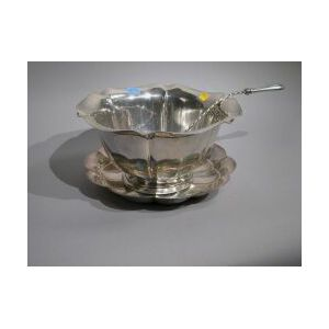 Reed & Barton Sterling Silver Salem Punch Bowl and Ladle and a Gorham Lobed Low Bowl.