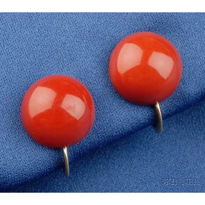 Coral Button Earclips