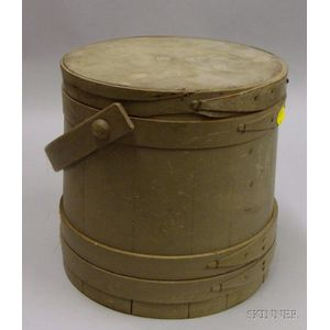 Green-painted Wooden Firkin with Cover