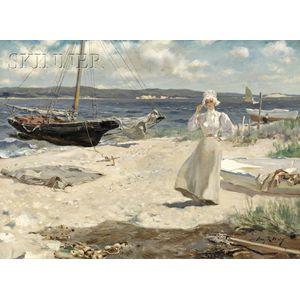 Irving Ramsey Wiles (American, 1861-1948)      A Walk Along the Harbor Shore